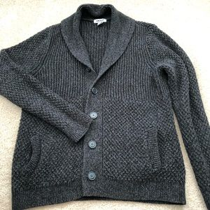 DKNY Gray Grandfather Collared Button Cardigan